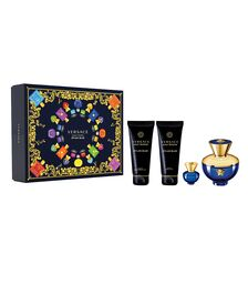 Set Versace, Dylan Blue pour Femme, Femei: Apa de Parfum, 100 ml + Gel de dus, 100 ml + Lotiune de corp, 100 ml + Apa de Parfum, 5 ml