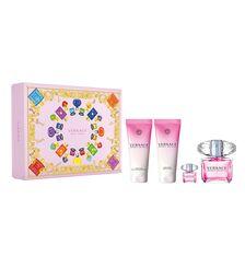 Set Versace, Bright Crystal, Femei: Apa de Toaleta, 90 ml + Gel de dus, 100 ml + Lotiune de corp, 100 ml + Apa de Toaleta, 5 ml